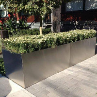 Brushed Stainless Steel Square Flowerpot Metal
