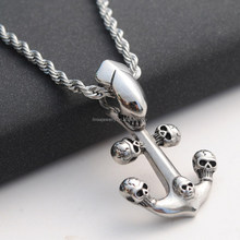 stainless steel casting design anchor Charm skull Jewelry Making China Supplies ZZP064