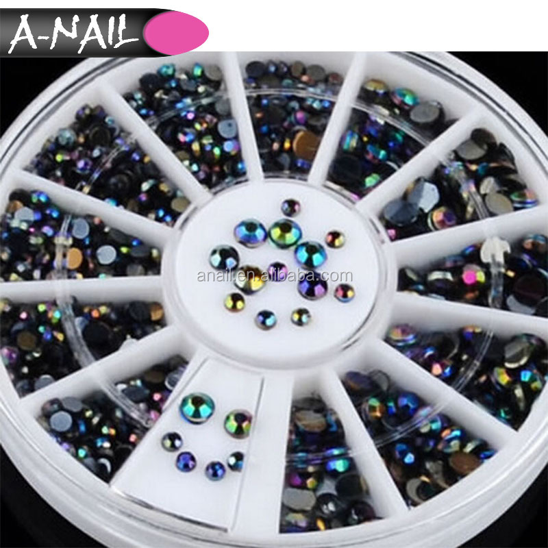 Fashion acrylic nail art decoration bling bling 600pcs/wheel black AB nail Rhinestones for DIY nail