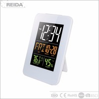 Jumbo lcd display humidity radio controlled day date color screen battery operate calendar clock