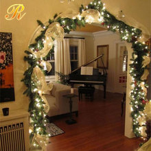 Green grass christmas lighted garland for home decoration
