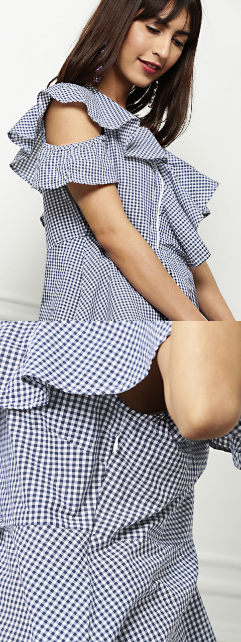 Women Navy Blue and White Plaid Top