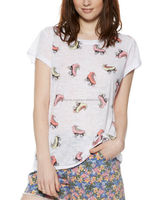 WOMENS T SHIRT WITH ALLOVER ROLLER SKATER PRINT