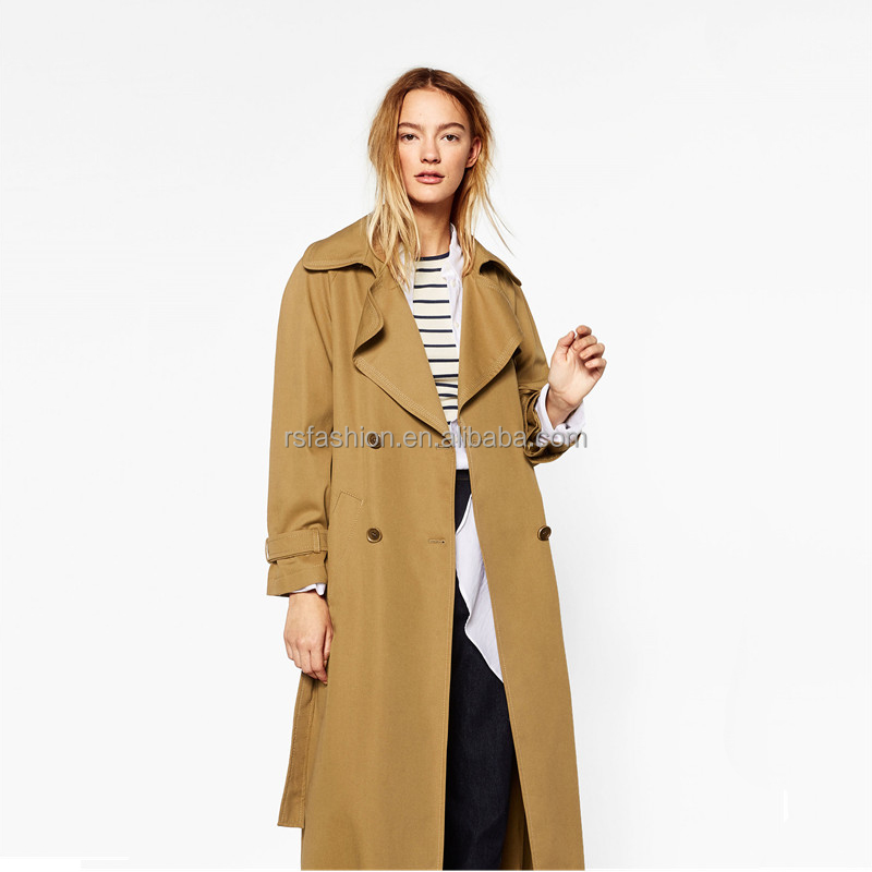 Wholesale fashion oversized camel color ladies maxi coats
