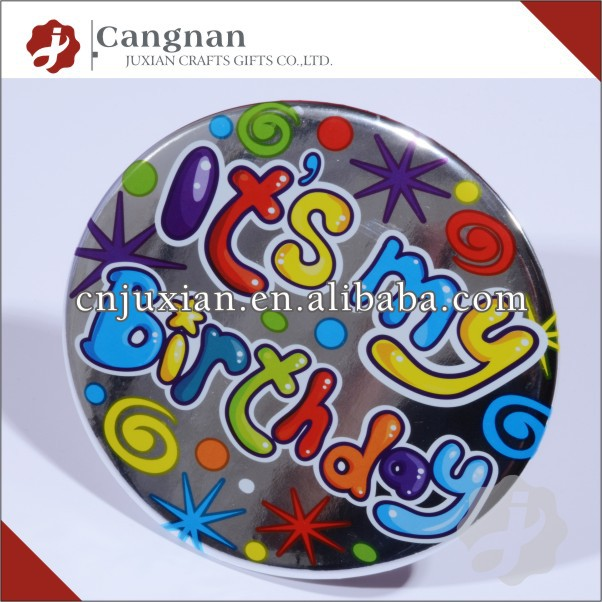 promotional cheap tin badge with custom logo
