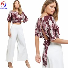 Wholesale custom women summer fashion batwing sleeves burgundy floral print cut out crop top