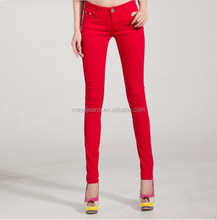 MY-208 New Autumn Fashion Pencil Jeans Woman Candy Colored Mid Waist Full Length Zipper Slim Fit Skinny Women Pants