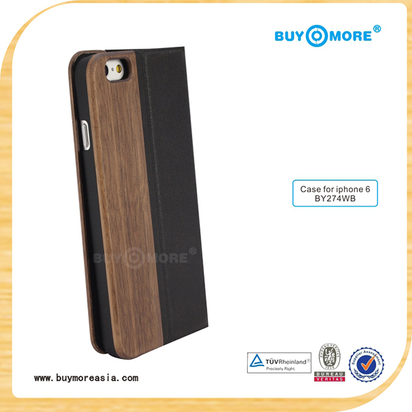 Walnut wood / leather flip Phone Cases For Apple Iphone 6