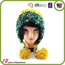 Top Quality Lovely Cheap Knitted Hats Beanie Winter Warm Cap For Girls With Comfortable Earflaps