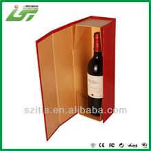 single one bottle folding paper wine box cardboard box with magnet red printed box