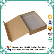 High end wholesale natural brown color black printed paper kraft gift box