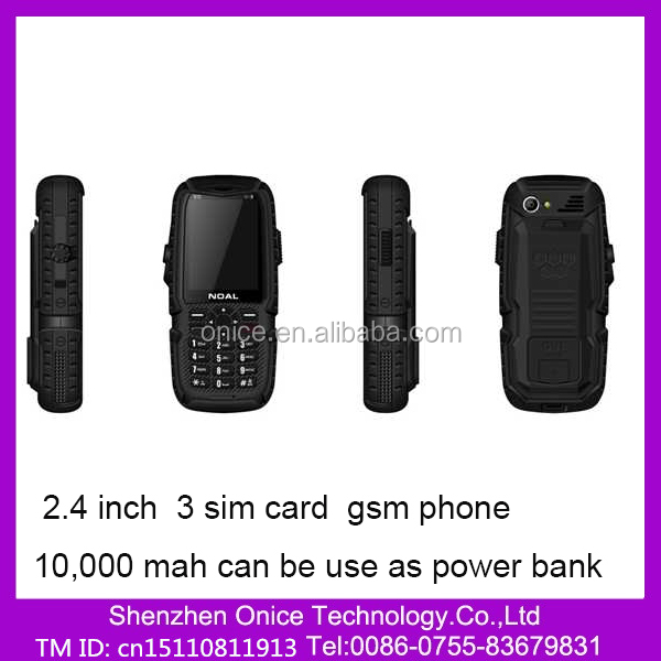 S12 2.4 Inch Long Time Battery Mobile phone With GPRS Bluetooth Torch 10,000 mah 3 Sim Card Mobile Phone