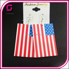 2017 fashion design sexaggerated patriotic American flag Acrylic earrings for ladies