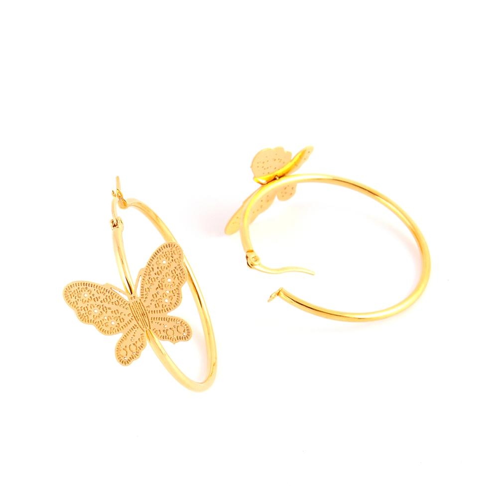 Women jewelry wholesale stainless steel beautiful butterfly round gold hoop earrings