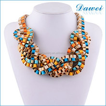 fashion vintage multicolored alloy wrapped chunky necklace wholesale