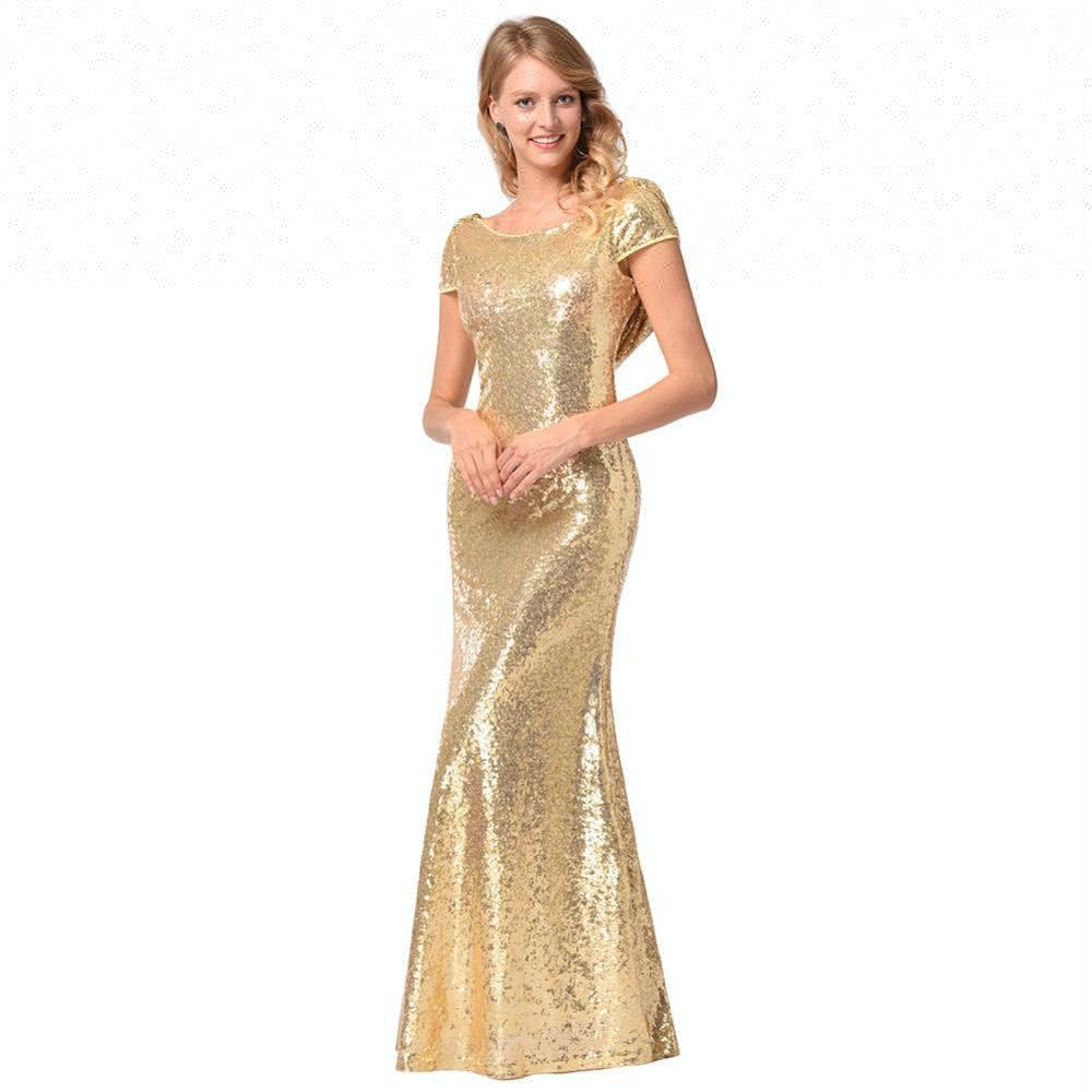 Summer Women Dress Fashion Sequins Beautiful ladies wedding dress