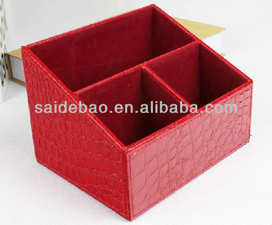 High-capacity Decorative family pu/genuine leather storage box,desk/table storage box as the best gift for family party