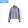 High quality Womens 100% Cotton Long sleeve Embroidery Strip Shirt