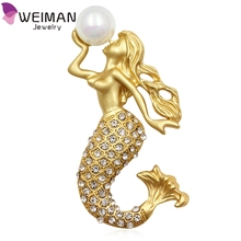 Fashion Gold Plated Mermaid Brooches Pin with Simulated Pearl Crystal Sea-maid Brooch Pins Women Jewelry Accessory