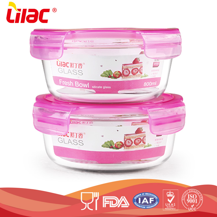 OEM&ODM eco-friendly food grade borosilicate airtight microwave lunch box glass food container