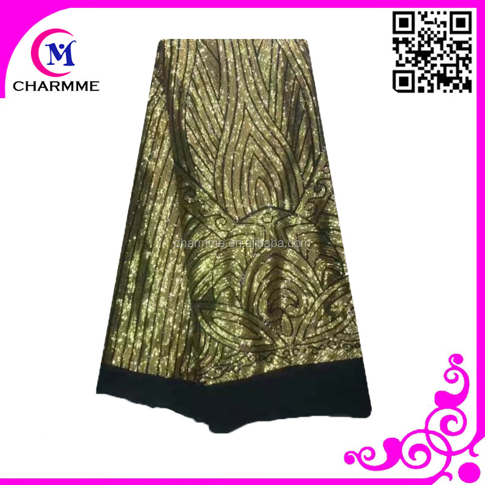Charmme shining lace fabric gold african lace fabric 5 yards tulle lace CCL-9N841 for sale
