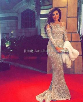 Bling Bling Long Sleeves Prom Dresses Luxury Beaded Crystals Nude Prom Dress Evening Gown