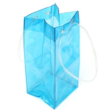 High Quality Clear Flexiloop Handle Plastic Ice Cooler Bag For Wine
