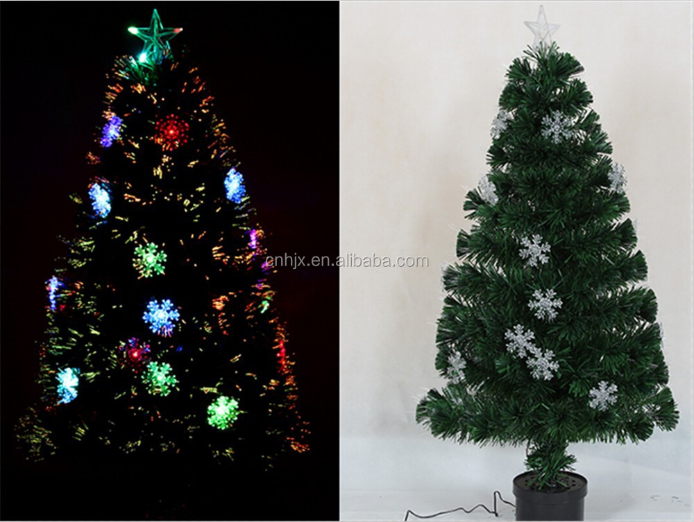 Light Up Decorated Plastic Snow Lights And Top Star Fiber Optic Christmas Tree, Electric Table Top Xmas Tree