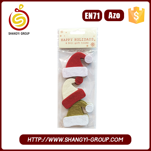 2016 New Glass Door Decorative Christmas Sticker with Hat Shaped