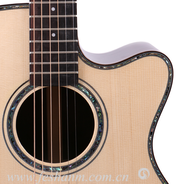 40 Inch Wholesale High End Semi Electric Solid Top Acoustic Guitar
