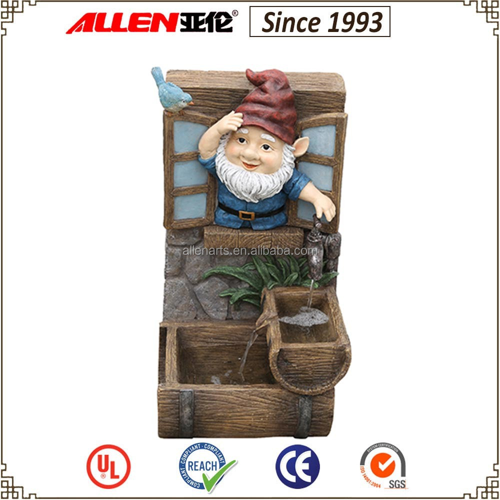 "25.6"" gnome opening tap water fountain, resin barrel water feature, garden figure statue fountain"