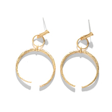 2017 Fashion Vintage Silver Hollow Round Geometric Jewelry Earrings Alloy Big Declaration Balance Earrings For Women