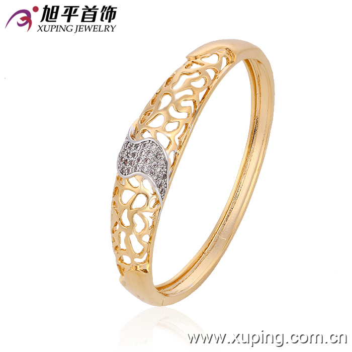 51052 Xuping simple gold designs copper alloy bangle material for women