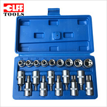 "Wholesale High quality Auto repair hand tool 19 in 1 1/2"" Dr Torx Bit & Star E Socket SET"