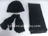 Hot Winter Hat Gloves and Scarf with Flowers Set