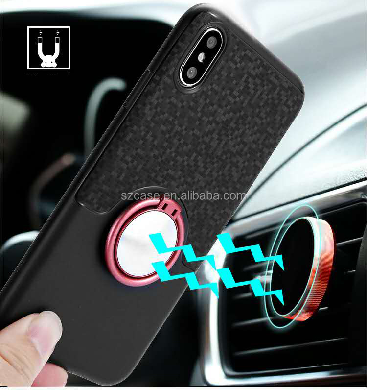 360 Degree Rotation Ring Bracket Magnet Car Mount Holder Phone Case For Iphone X 8 7 6