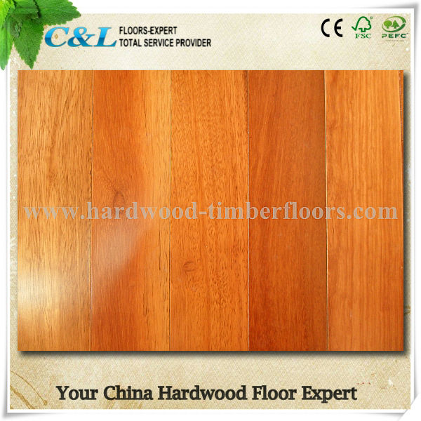 Brown color stained kempas solid wooden hardwood flooring