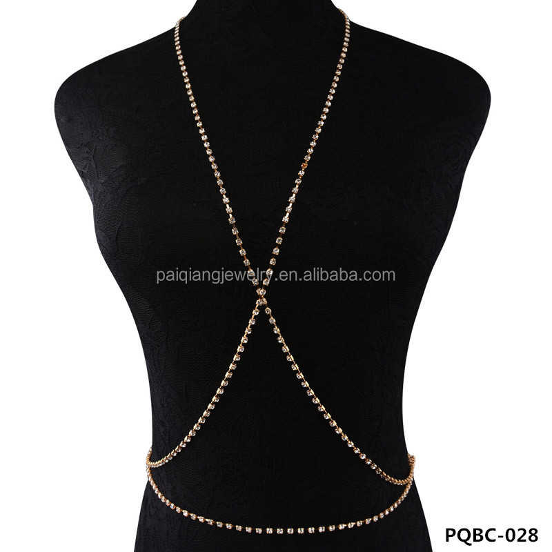 Fashion hot selling gold plated crystal body chain jewelry