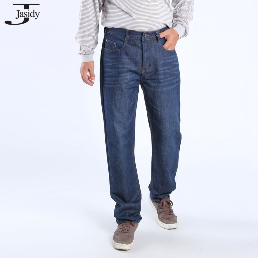 38-46 Plus Size Casual Conton Denim Jeans Men Long Trousers Straight Fashion Baggy Mens Jeans Solid Men's Jeans Pants No.1506