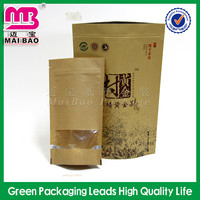 plastic lined kraft paper resealable food bag for tea
