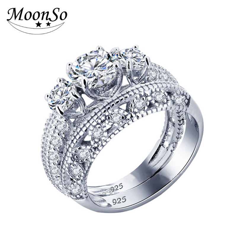 Three stones engagement wedding cubic zirconia CZ diamond 925 sterling silver ring set for women bridal finger jewelry KR1815S