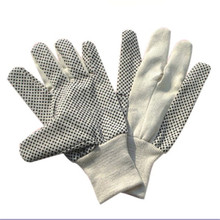 Cotton Canvas Men's Gloves with Black PVC Dots On Palm (Pack of 12)
