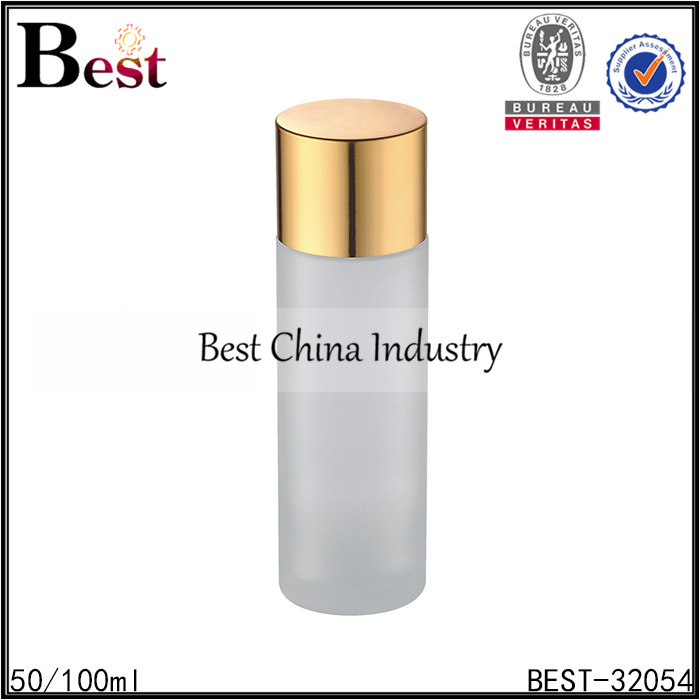 50ml 100ml clear frosted glass cosmetic bottle UK manufacturer
