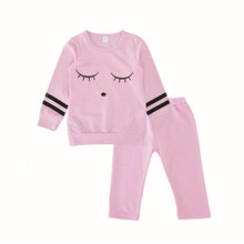 Spring Autumn Fashion Pink long-sleeved lashes shirt and trousers Sports baby Girls Clothes Sets
