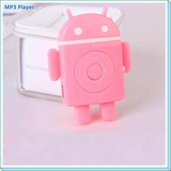Cute Android Robot Cartoon Clip MP3 Music Player USB2.0 Walkman MP3 Player