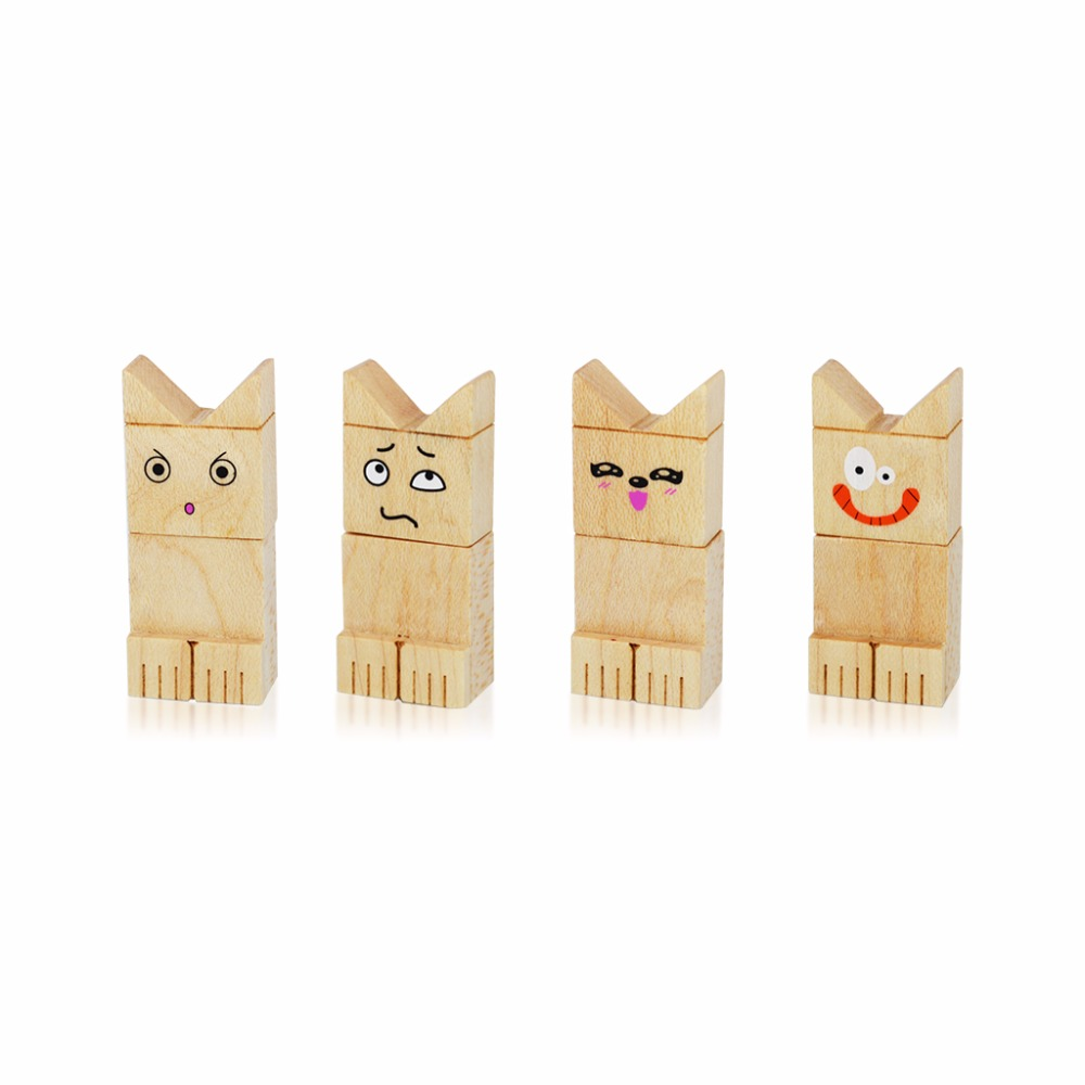 Funny Face Flash Drive Wooden USB disk Funny 16GB USB flash drive