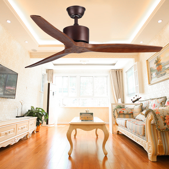 Living room Decorative 52'' 3 blades wood ceiling fan with remote control