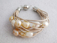 Wrap Leather Cord Freshwater Pearl Bracelet No-1332