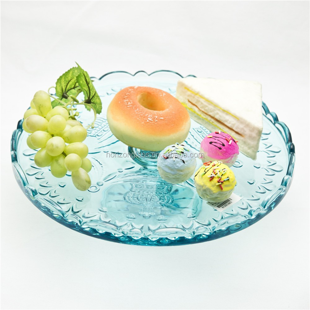 wholesale hand made round glass cake fruit stand dessert stand/cake domes