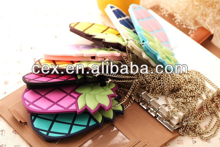 Cute Pineapple Ananas Design Chain Silicone Case Cover for iPhone 4 4S 5 5G